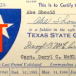 Norma Shosid's father's Texas State Guard ID