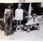 Rex Crowell and his two younger sisters and younger brother in 1938