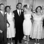 Rosie and Sol Stromberg's wedding, Left to Right, Aunt Sylvia, Sol's parents Ben and Pauline Stromberg, Sol and Rosie, Sue Charlotte Siegel Potash and Jack Potash, Rosie's parents