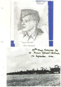 Artistic Drawing of Bill Prindible – US Air Corps – WWII – Troop Carrier Pilot
