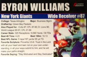 Byron Williams Professional Football Card
