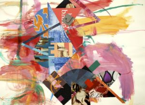 Cecelia Feld #1260 Springtime Suite 2, acrylic painting on paper with collage, 22x30, 2012