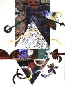 Cecelia Feld #1273 Have Map Will Travel 5, collage, 30×22, 2013