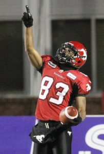 Romby Bryant scoring for the Calgary Stampeders