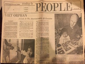 Newspaper clipping of Christina Curtis and her adoption