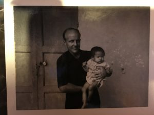 Christina Curtis and her father when he first met her at the orphanage