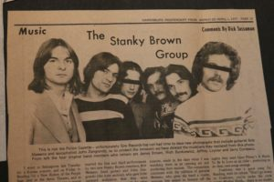 Newspaper clipping about Jeffrey Leynor's band, The Stanky Brown Group