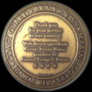 Back side of coin given to Jack Repp by General Patton's grandson