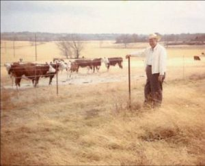With Jon's first signing bonus from Green Bay of $5000, he made a down payment for his first of three ranches. This is Walter, Jon's dad with some of their cattle.