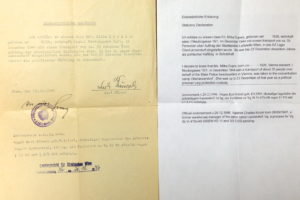 Certification of concentration camp presence for Miki Snediker