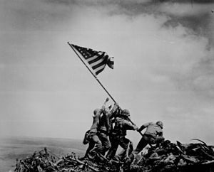 Raising the flag on Mt Suribach Iwo Jima 1945