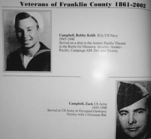 Robby Campbell and brother Zach in Franklin County tribute to veterans