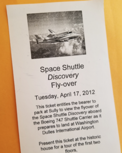 Parking pass for the Space Shuttle Discovery landing at Dulles in 2012
