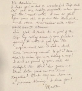 Dean Willis's letter from his wife while on Honor Flight to DC in 2013