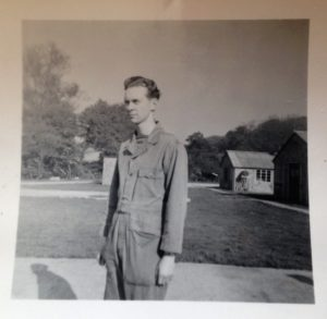 Rex Crowell in front of the Air Force barracks during the Korean War