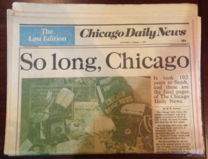 The last issue of the Chicago Daily News Paper.