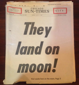 Newspaper headline about the moon landing