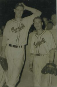 Chuck Connors, MLB player and famous actor from the The Rifleman, with Jack Lindsey.