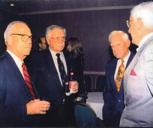 Jack Lindsey (far left) with Dick Williams (holding drink) and Sparky Anderson (red & gold tie).