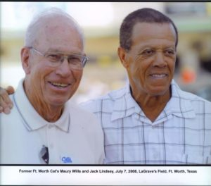 Jack Lindsey and his former teammate, Maury Wills.