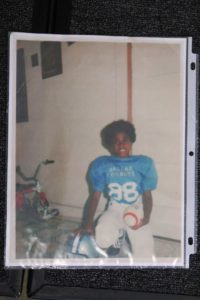 Patrick Jackson as a child dressing up like Drew Pearson when he was a child