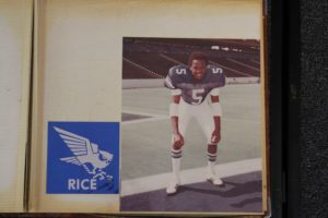 Michael Downs in college at Rice in his football uniform