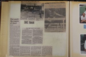 Newspaper clippings in Michael Downs' scrapbook