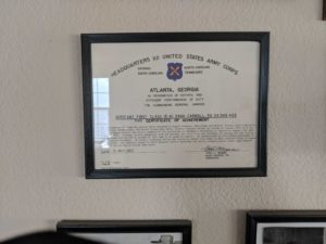 Dana Carroll's certificate of achievement for the army