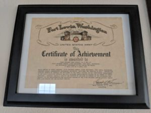 Another certificate of achievement for Dana Carroll for April 15th 1957-April 23rd 1959
