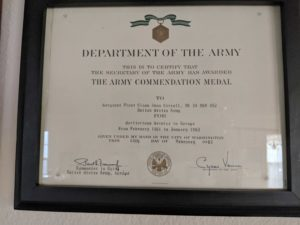 Dana Carroll's certificate for the commendation medal he received