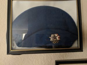 Gwen Carroll's hat from her uniform for working at the 1985 Olympics