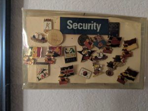 Pins Gwen Carroll received for volunteering in the 1985 olympics