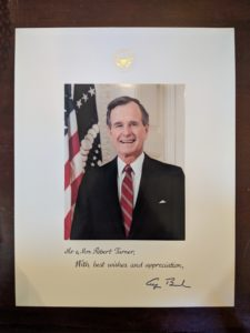 A photo of George Bush Sr. included in Bob Turner's letter from the president
