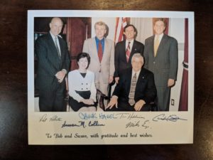 Greeting card to Bob from Senators Susan Collins and Chuck Hagel