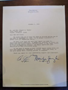 Letter from vice president Dan Quayle to Bob