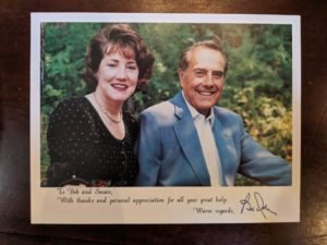 Card from Senator Bob Dole and his wife to Bob Turner