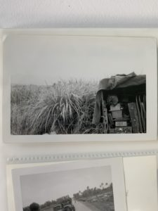A picture of a truck by the elephant grass in Vietnam to show how tall it was