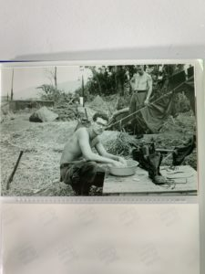 Harold Culver washing his clothes in Vietnam