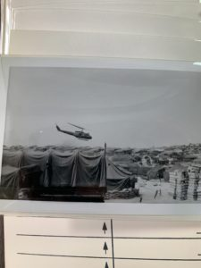 Helicopter flying over camp that housed thousands of soldiers